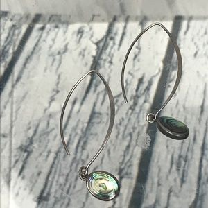 Sterling Silver AbLone Paua Shell Dangle Earrings